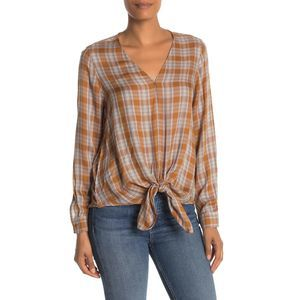 Max Studio Printed Knotted Tie-Hem Blouse Size L